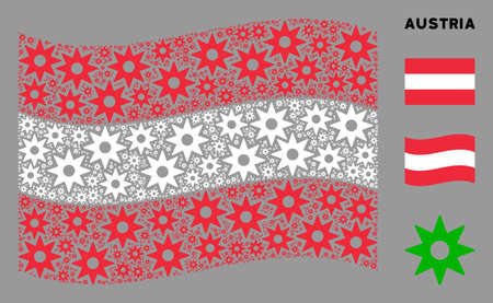 Waving Austria flag. Vector new star elements are placed into geometric Austria flag composition. Patriotic composition created of flat new star design elements.