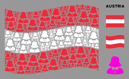 Waving Austria official flag. Vector woman design elements are organized into geometric Austria flag composition. Patriotic composition organized of flat woman elements. Illusztráció