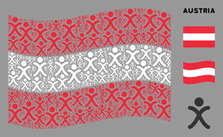 Waving Austria official flag. Vector x generation boy design elements are combined into mosaic Austria flag composition. Patriotic collage created of flat x generation boy elements. Stock fotó - 132113283