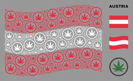 Waving Austria flag. Vector cannabis pictograms are organized into conceptual Austrian flag collage. Patriotic collage organized of flat cannabis design elements. 版權商用圖片 - 132120060