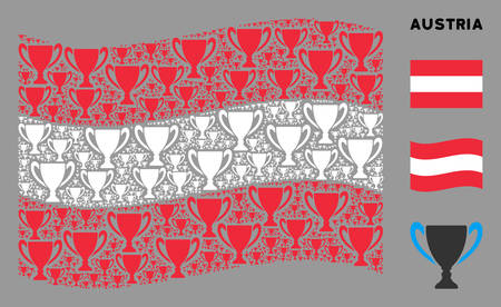 Waving Austrian official flag. Vector cup pictograms are organized into mosaic Austrian flag composition. Patriotic composition organized of flat cup pictograms. Ilustração