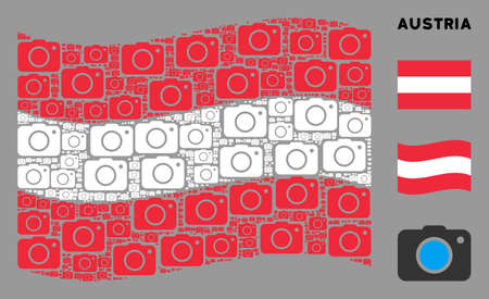 Waving Austrian official flag. Vector photo camera design elements are organized into mosaic Austrian flag abstraction. Patriotic collage created of flat photo camera elements.