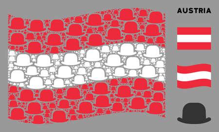 Waving Austria official flag. Vector gentleman hat design elements are combined into conceptual Austria flag illustration. Patriotic concept created of flat gentleman hat design elements. Ilustracja