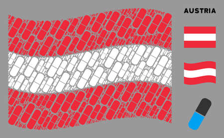 Waving Austria state flag. Vector medical capsule items are grouped into geometric Austria flag collage. Patriotic collage organized of flat medical capsule design elements. 向量圖像