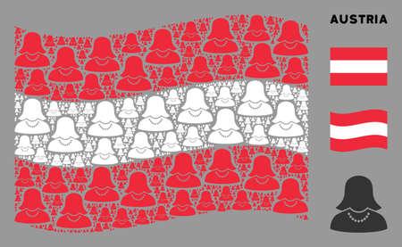 Waving Austrian official flag. Vector female elements are scattered into mosaic Austrian flag abstraction. Patriotic illustration designed of flat female elements. Illusztráció