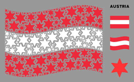 Waving Austrian flag. Vector fireworks star design elements are placed into conceptual Austrian flag composition. Patriotic composition done of flat fireworks star design elements. Ilustração