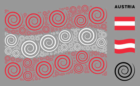 Waving Austrian state flag. Vector whirl design elements are united into mosaic Austrian flag collage. Patriotic collage composed of flat whirl icons.