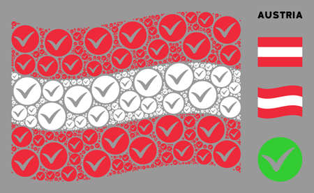 Waving Austrian official flag. Vector apply design elements are combined into mosaic Austrian flag collage. Patriotic composition done of flat apply elements.
