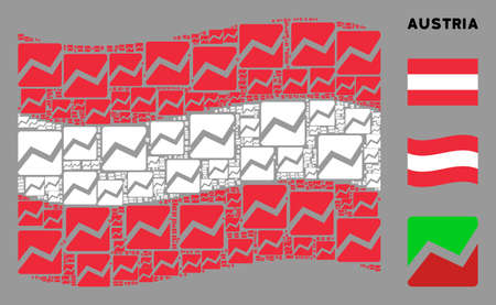 Waving Austria official flag. Vector analytics chart design elements are combined into conceptual Austria flag illustration. Patriotic collage composed of flat analytics chart elements.