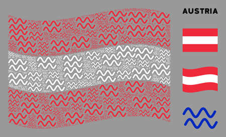 Waving Austrian flag. Vector sinusoid waves design elements are formed into geometric Austrian flag composition. Patriotic collage organized of flat sinusoid waves design elements.