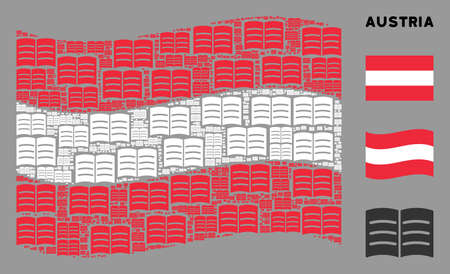 Waving Austria flag. Vector open book icons are combined into conceptual Austria flag collage. Patriotic collage constructed of flat open book icons. Banco de Imagens - 132119114