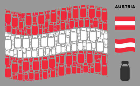 Waving Austrian official flag. Vector bottle icons are placed into conceptual Austrian flag illustration. Patriotic composition composed of flat bottle icons.