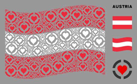 Waving Austria official flag. Vector casino hearts design elements are arranged into conceptual Austria flag composition. Patriotic collage organized of flat casino hearts design elements. Ilustracja