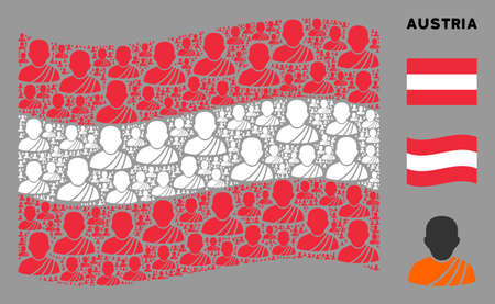 Waving Austrian state flag. Vector buddhist monk elements are placed into conceptual Austrian flag illustration. Patriotic illustration organized of flat buddhist monk design elements. Stock Illustratie