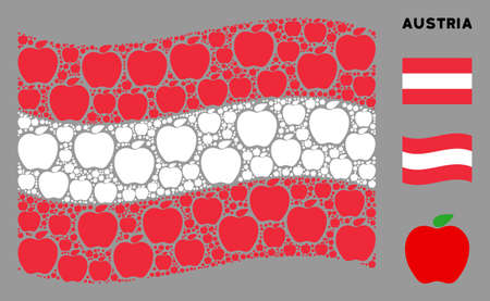 Waving Austria official flag. Vector apple elements are arranged into mosaic Austria flag collage. Patriotic collage combined of flat apple design elements.