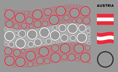 Waving Austria flag. Vector circle bubble pictograms are united into mosaic Austria flag collage. Patriotic collage done of flat circle bubble pictograms.