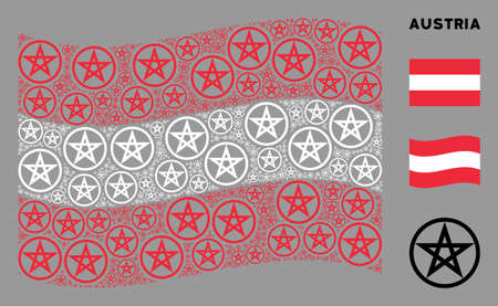 Waving Austrian state flag. Vector star pentacle design elements are grouped into mosaic Austrian flag collage. Patriotic collage organized of flat star pentacle elements.