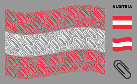 Waving Austria official flag. Vector paperclip elements are combined into geometric Austria flag collage. Patriotic collage organized of flat paperclip elements.