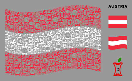 Waving Austria official flag. Vector apple stump design elements are combined into mosaic Austria flag abstraction. Patriotic concept composed of flat apple stump design elements. Иллюстрация
