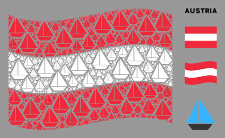 Waving Austrian official flag. Vector yacht pictograms are scattered into conceptual Austrian flag collage. Patriotic composition composed of flat yacht pictograms. Çizim
