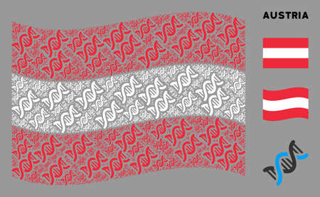 Waving Austria official flag. Vector DNA spiral items are placed into mosaic Austria flag illustration. Patriotic illustration created of flat DNA spiral design elements.