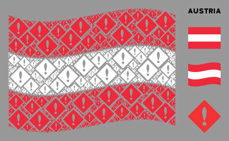 Waving Austria state flag. Vector error icons are combined into conceptual Austria flag composition. Patriotic composition done of flat error icons.