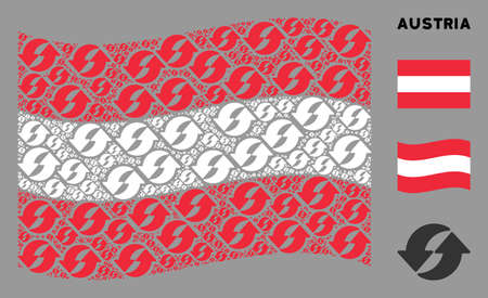 Waving Austria official flag. Vector refresh pictograms are combined into conceptual Austria flag abstraction. Patriotic illustration combined of flat refresh design elements.