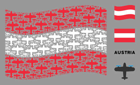 Waving Austrian official flag. Vector aircraft design elements are united into mosaic Austrian flag composition. Patriotic illustration composed of flat aircraft elements.