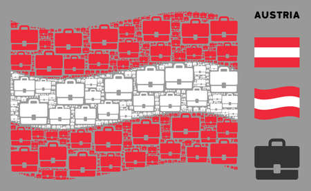 Waving Austrian official flag. Vector case design elements are arranged into mosaic Austrian flag abstraction. Patriotic composition constructed of flat case design elements. Ilustracja