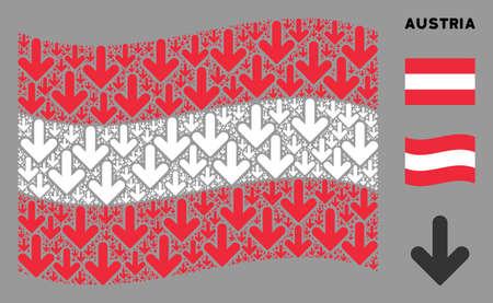 Waving Austrian flag. Vector arrow down design elements are formed into geometric Austrian flag composition. Patriotic composition designed of flat arrow down design elements.
