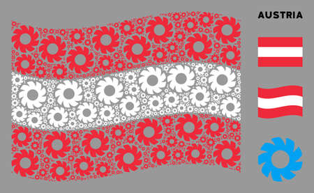 Waving Austria state flag. Vector turbine design elements are formed into geometric Austria flag composition. Patriotic composition composed of flat turbine icons.