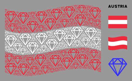 Waving Austrian state flag. Vector diamond icons are united into conceptual Austrian flag illustration. Patriotic illustration done of flat diamond icons. Çizim
