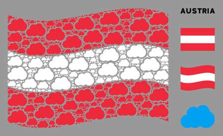 Waving Austria official flag. Vector cloud design elements are scattered into geometric Austria flag collage. Patriotic concept combined of flat cloud design elements.
