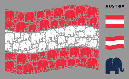 Waving Austrian state flag. Vector elephant icons are arranged into conceptual Austrian flag abstraction. Patriotic concept composed of flat elephant icons. Imagens - 132124588
