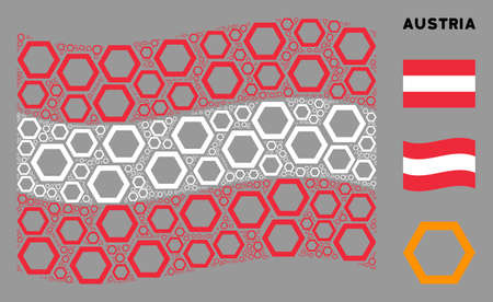 Waving Austrian official flag. Vector contour hexagon elements are placed into mosaic Austrian flag composition. Patriotic illustration organized of flat contour hexagon elements.