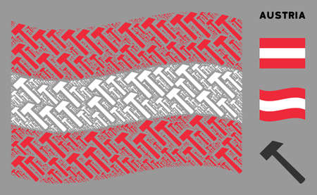 Waving Austria state flag. Vector hammer items are scattered into conceptual Austria flag illustration. Patriotic illustration created of flat hammer design elements.