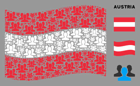 Waving Austrian official flag. Vector users design elements are arranged into geometric Austrian flag collage. Patriotic concept designed of flat users elements.