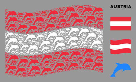 Waving Austrian flag. Vector dolphin icons are grouped into geometric Austrian flag illustration. Patriotic illustration done of flat dolphin elements.