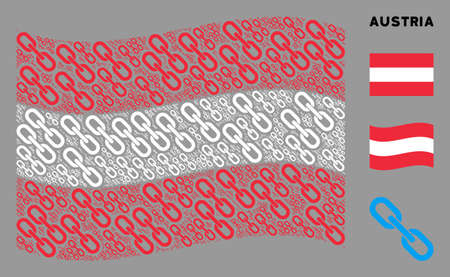Waving Austria official flag. Vector chain design elements are placed into conceptual Austrian flag composition. Patriotic collage created of flat chain design elements. Çizim
