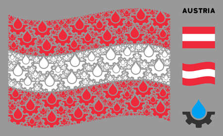 Waving Austria official flag. Vector water drop service cog design elements are organized into mosaic Austrian flag abstraction. Иллюстрация