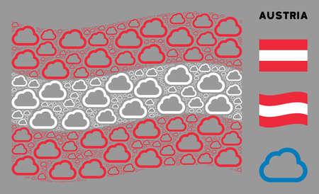 Waving Austrian official flag. Vector cloud elements are grouped into mosaic Austrian flag collage. Patriotic concept organized of flat cloud elements. Çizim