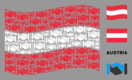 Waving Austrian state flag. Vector acquisition handshake elements are placed into mosaic Austrian flag illustration. Patriotic illustration organized of flat acquisition handshake design elements. Ilustração