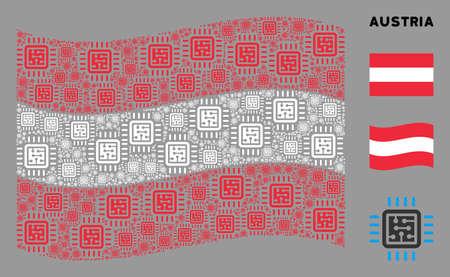 Waving Austria flag. Vector CPU circuit design elements are grouped into mosaic Austria flag collage. Patriotic illustration organized of flat CPU circuit design elements.