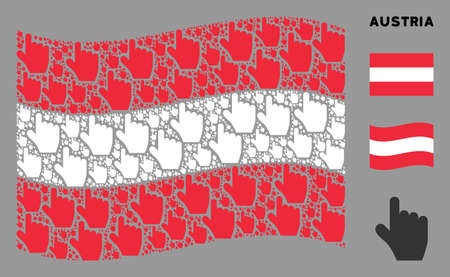 Waving Austrian flag. Vector pointer finger icons are organized into geometric Austrian flag collage. Patriotic illustration organized of flat pointer finger elements.