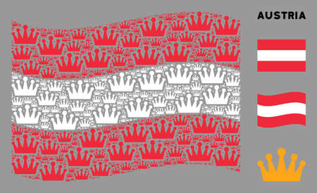 Waving Austria flag. Vector crown design elements are scattered into conceptual Austria flag collage. Patriotic illustration organized of flat crown elements.