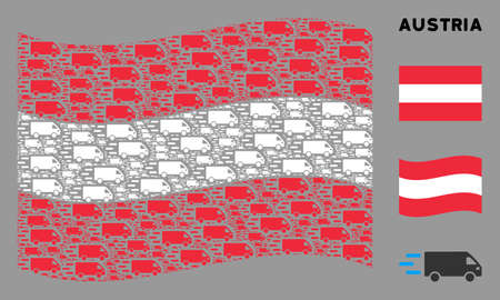 Waving Austria official flag. Vector fast delivery car icons are arranged into mosaic Austria flag collage. Patriotic collage organized of flat fast delivery car icons. Stok Fotoğraf - 132123717