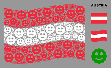 Waving Austria state flag. Vector smiled sticker design elements are combined into conceptual Austria flag illustration. Patriotic collage combined of flat smiled sticker pictograms.