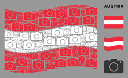 Waving Austrian state flag. Vector photo camera design elements are grouped into mosaic Austrian flag collage. Patriotic collage composed of flat photo camera elements.