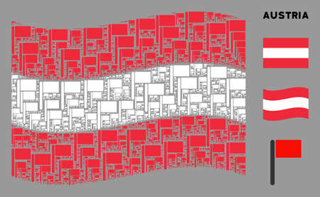 Waving Austrian flag. Vector flag elements are placed into mosaic Austria flag collage. Patriotic collage designed of flat flag elements.