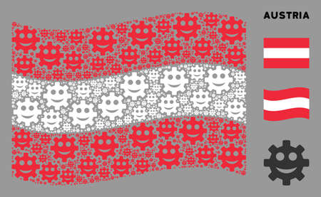 Waving Austria flag. Vector gear smile smiley icons are grouped into conceptual Austria flag abstraction. Patriotic concept done of flat gear smile smiley icons.